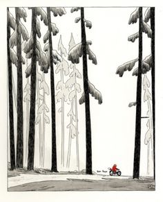 Drawn #fox #illustration #bike #forest #trees