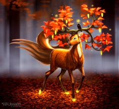 Magic autumn deer