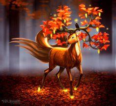 Magic autumn deer