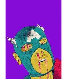 Superheroes_Boneface_4.jpg 600×707 pixels #blood #america #illustration #captain