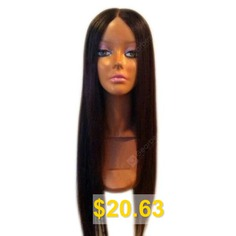 Ultra #Long #Middle #Part #Silky #Straight #Synthetic #Wig #- #BLACK