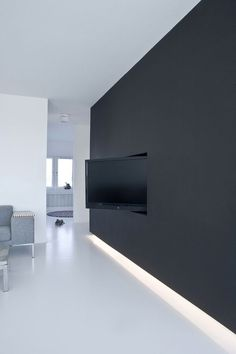 minimalistisch. #interior #tv #white #black