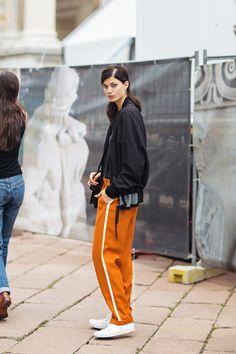 Likes | Tumblr #fashion #trousers #orange #street