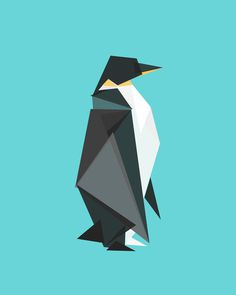 Fractal geometric emperor penguin Art Print #penguin #triangle