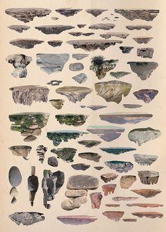 Islands by Tom Reznikov #islands #print #poster #art #collage #mountains