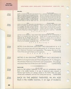 A specimen of W. A. Dwiggins' classic font Metro Thin #type #specimen #typography