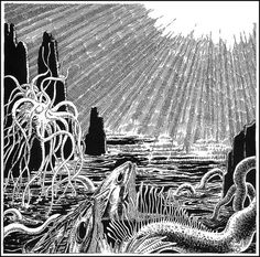Virgil Finlay - 79 #sun #ink #cross #stippling #monsters #sea #hatching