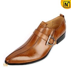 Brown Monk Strap Leather Dress Shoes for Men CW763072 #dress #shoes #leather