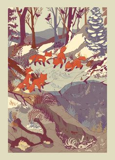 { teaganwhite } design & illustration #illustration #foxes #cute #nature #snow #river #ice #fish #cubs #design #art