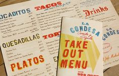 Art of the Menu: La Condesa #print #typography