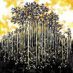 Aba-0-003 by *CliveBarker #art #clive barker plant tree leaves branches lino print botany botanical roots