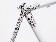illustration, bicycle, frame, hand painted, spoon, black, skull, detail