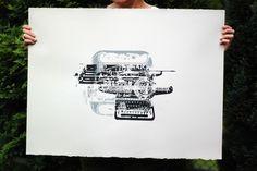 SJG - ze szkicownika pewnego grafika... #print #screen #vintage #silk #typewriter