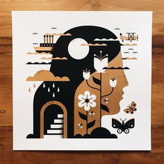"""New in the Shop: Our """"Eight Miles High"""" Art Print. Two colour screen print w/ Metallic Gold ink. 12""""x12"""" fitting perfectly into a record frame. Signed & numbered /75. Link in our bio. Have a great weekend! #doublenautdesign #DahShinin'"""