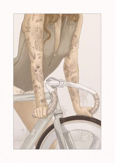 Hey ! Girls on bikes 2 I decided to put the 50 limited edition prints available at my online shop. Giclée art print on Hahnemühle German E