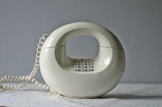 vintage push button phone   white