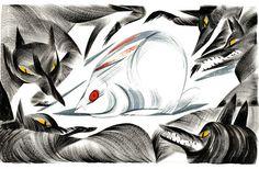 pingszoo #wolves #illustration #rabbit #fear