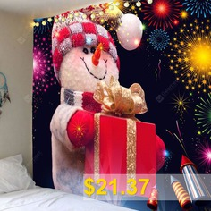 Fireworks #Christmas #Snowman #Printed #Wall #Art #Tapestry #- #COLORFUL