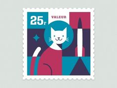 Dribbble - Space Animal Stamp Series - Félicette by Eric R. Mortensen #stamp #illustration #letterpress #cat