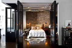 B L O O D A N D C H A M P A G N E . C O M: #interior #design #brick #bedroom