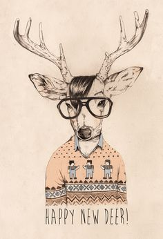 Hipster opposite day on Behance #deer #hipster #pencil #eyeglasses