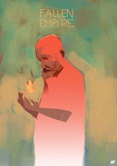 Fallen Empire (illustration by youpiemonday.com) #red #pink #beard #digital #illustration #painting #man #king #green