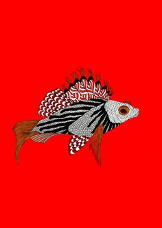 Meni Chatzipanagiotou #chatzipanagiotou #meni #red #fish #illustration #animal