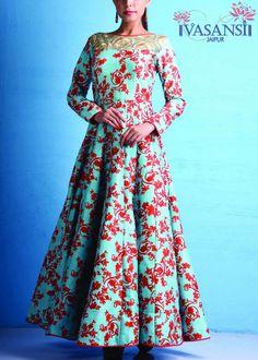 Vasansi Turquoise Raw Silk Gown