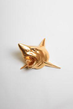 The Bartholomew - Gold Resin Shark Head- Shark Resin White Faux Taxidermy- Chic & Trendy Fish Mount