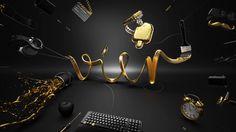 #illustration #CGI #vier #typography #animation #gold #black #keyboard #popsicle #balloon #four #4 #clock #hammer #headphone #moustache