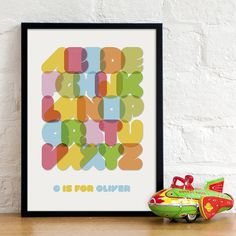 Personalised Child's Alphabet Print #print #colors #alphabet #wall #poster #typography
