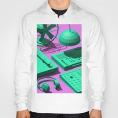 Low Poly Objects Hoodie at Søciety6 #3d #cgi #cg #cinema4d #render #studio #turntable #fan #cactus #synthesizer #music #dj #pendant