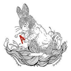 Art Print #black&white #illustration #rabbit #drawing #lechapardeur