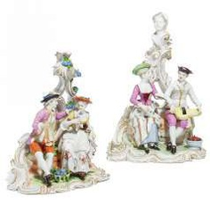 Two groups as an allegory of the autumn, & as the allegory of winter. Ludwigsburg #Sets #Teasets #Porcelainsets #Antiqueplates #Plates #Wallplates #Figures #Porcelainfigurines #porcelain