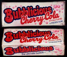 Bubblicious Cherry Cola bubble gum pack 1980's #lettering #packaging #candy #vintage #80s #bubblegum #typography