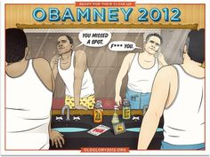 Old Glory 2012 #romney #comic #shaving #illustration #poster #obama