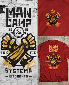 personal, shirt, logo, man camp, martial arts, systema, russian, red, yellow, fist, stencil