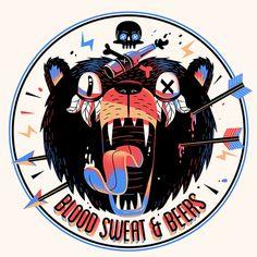 bear, beer, illustration, skull, arrow, tounge