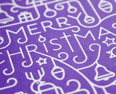 Illustrated Foil-blcoked Christmas Card #illustration #white #christmas #line #purple #reindeer #card #xmas #illustrative #snowman #merry ch
