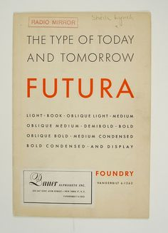 1930's Futura Specimen Booklet | Flickr - Photo Sharing! #futura #vintage #typography