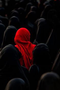 Red drape.