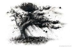 Dessin à l\'encre de Chine d\'un arbre en noir et blanc