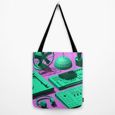 Low Poly Objects Tote Bag at Søciety6 #3d #cgi #cg #cinema4d #render #studio #turntable #fan #cactus #synthesizer #music #dj #pendant #head