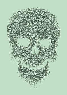 Green Skull Art Print #arts #illustration #line #skull