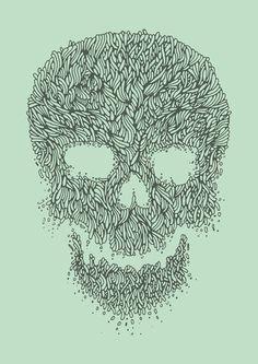 Green Skull Art Print #arts #illustration #line #skull