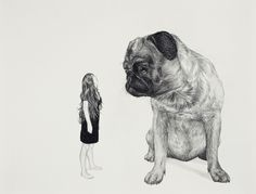 Femme et chien (2009),Graphite pencil on paper, by Fred Laforge #black and white #dog #drawing #woman #graphite #pug #fred laforge