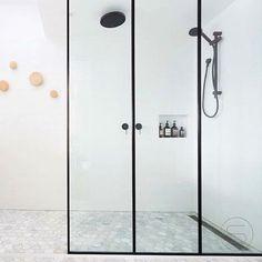 black frame shower enclosure by Gia Bathrooms & Kitchens #shower #bathroom