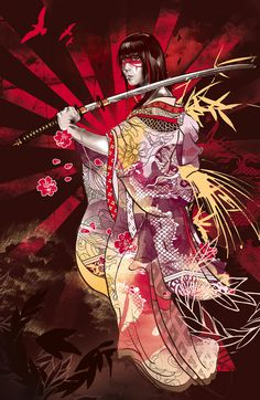 Life Through Death Kent Floris Illustration #sword #geisha