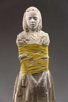 . #wrapped #sculpture #tied #wooden #bound #child #gehard #wood #demetz