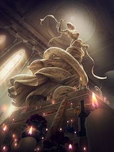 Basilisk by algenpfleger on Inspirationde #candles #perspective #church #design #statue #illustration #concept #art #tall